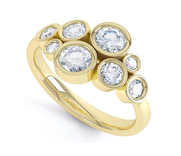 bubble styled diamond ring