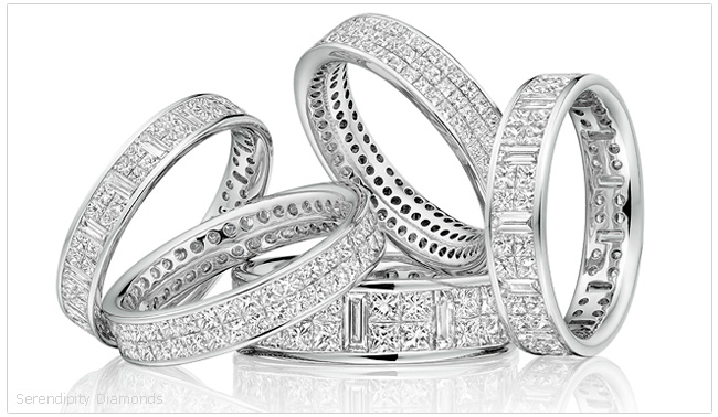 A selection of invisibly set diamond eternity rings