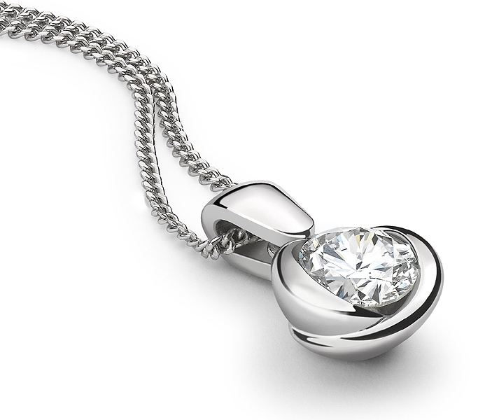retro necklace rose gold and main diamond view platinum