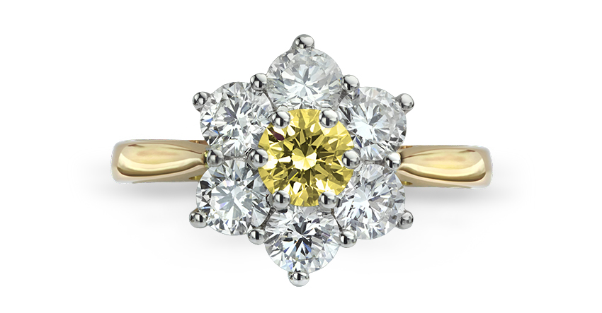 Canary yellow diamond cluster Daisy engagement ring