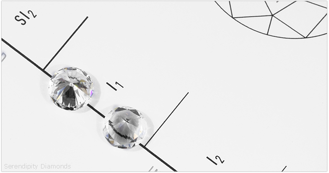 Refractive properties vary greatly. Shown here - diamond (left) refracting line which is clearly visible through White Sapphire.