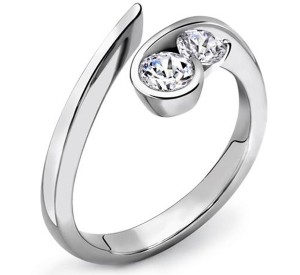Unusual Two Stone Platinum Engagement Ring