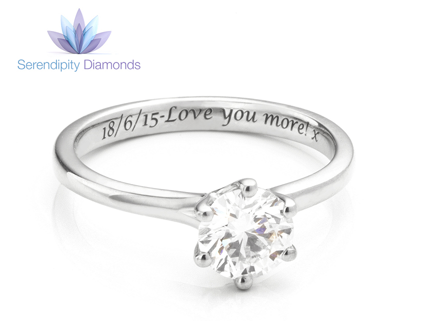 Promise rings UK - Engraved solitaire diamond ring with a commitment ring engraving
