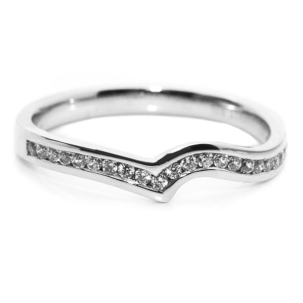 The Diamond Sweep Shaped Wedding Ring