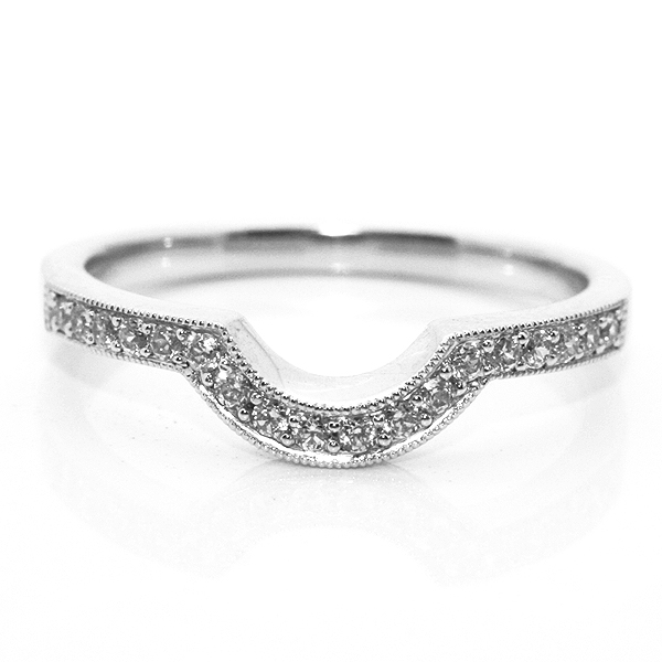 Horseshoe Diamond Set Shaped Wedding Ring with Millgrain Detail