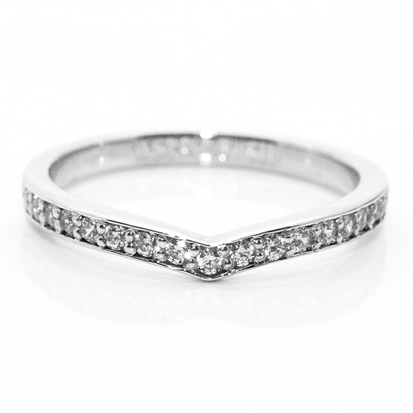Shaped Diamond Herring Bone Wedding Ring