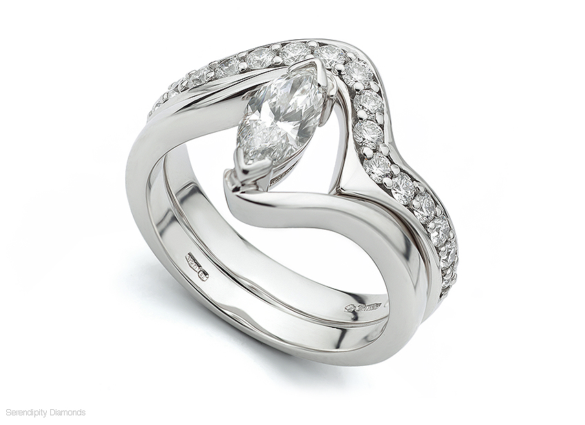 Marquise twist shaped wedding ring