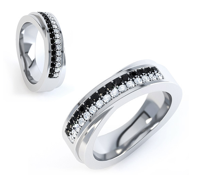 black and white diamond wedding rings