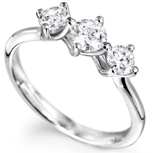 Three Stone Twist Engagement Rings