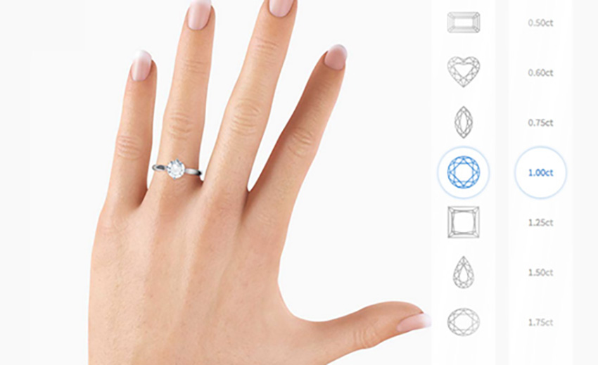 Diamond sizes on the finger