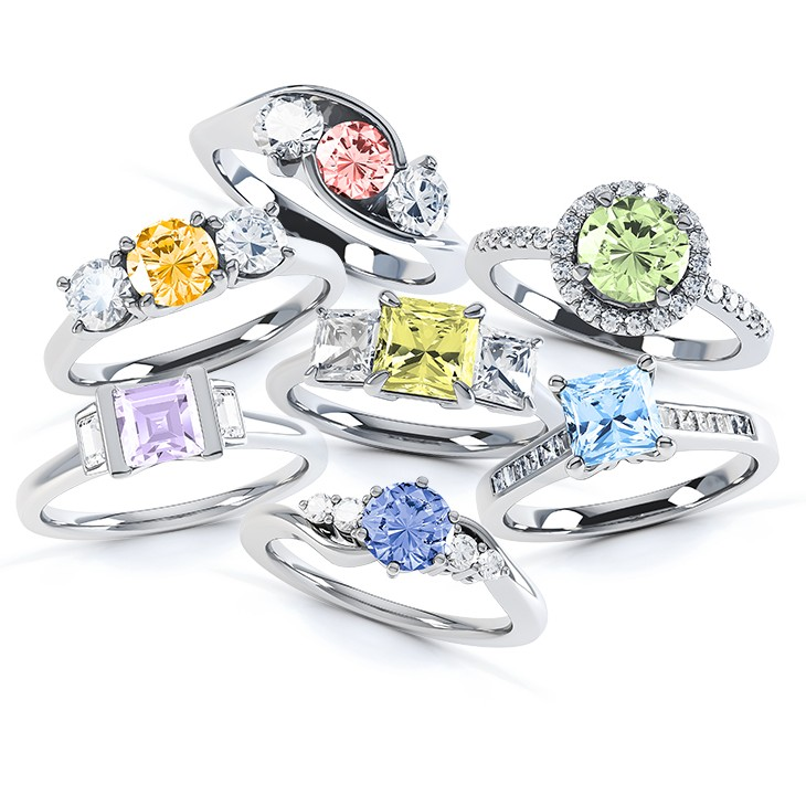 ring coloured jewels diamonds of kimberley two the cushion alluvial shop rings cocktail diamond tone fancy halo