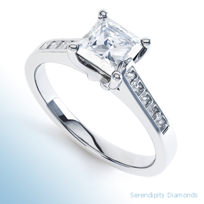Princess Engagement Rings with Diamond Shoulders