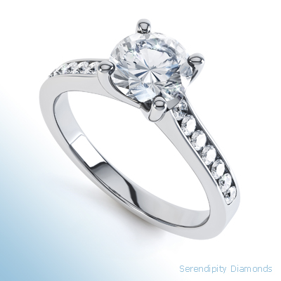 Diamond Shoulder Engagement Ring - Four Claw Round