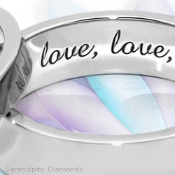 Romantic non-diamond engagement ring - plain with simple engraving