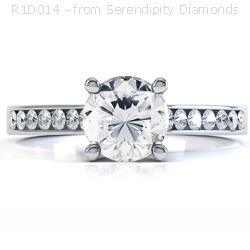 Four Claw Solitaire Ring with Side Stones