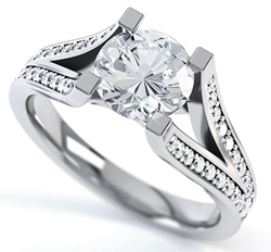 Diamond Ring with Split Shoulders
