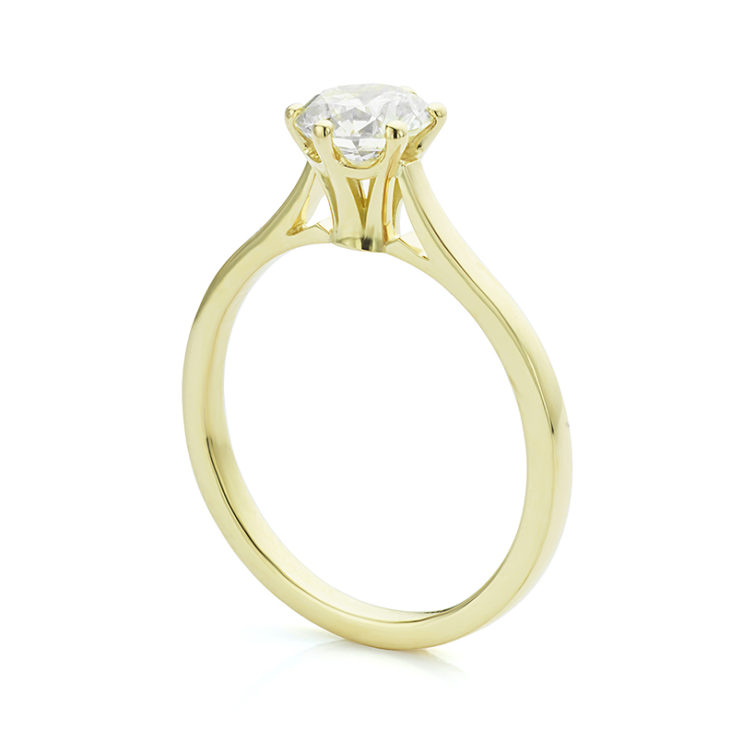High engagement ring setting Calla design with fluted styling