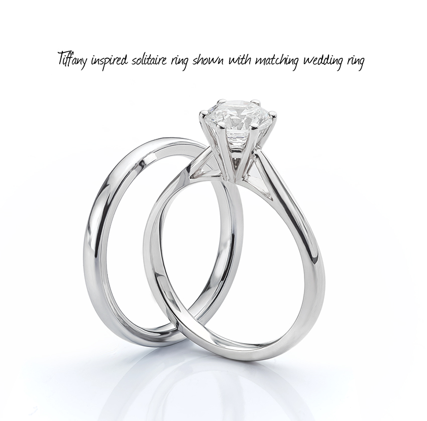 Taller wedding ring friendly setting for an engagement ring with matching wedding band