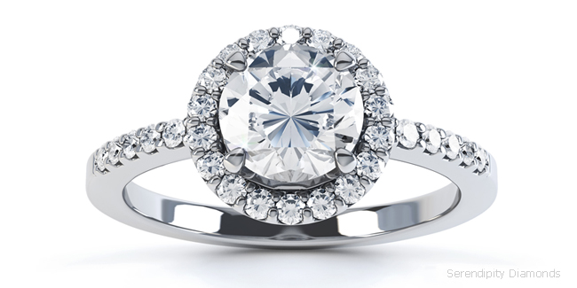 Engagement ring R1D001S with claw set diamond shoulders