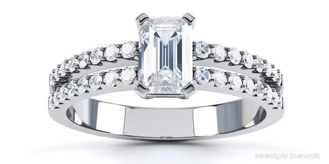double shoulders within an Emerald cut engagement ring design