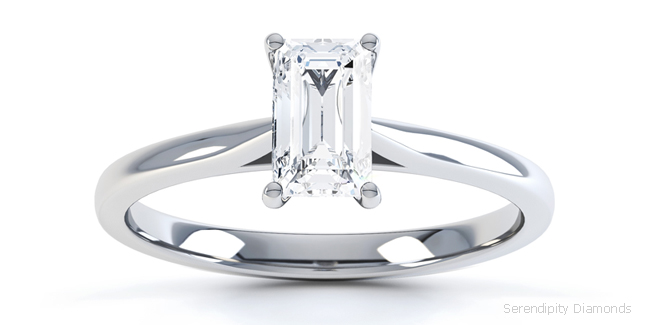 Emerald cut engagement ring shown with open shoulders