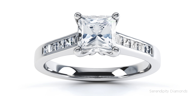engagement ring with princess cut channel set shoulders