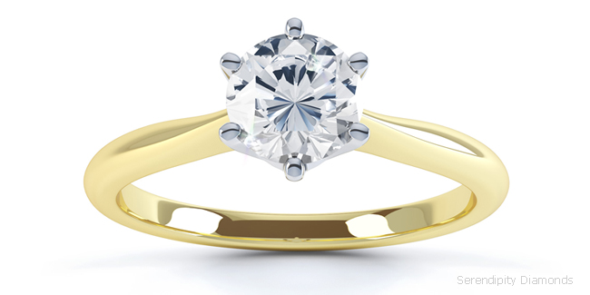 six claw engagement ring with solid shoulders