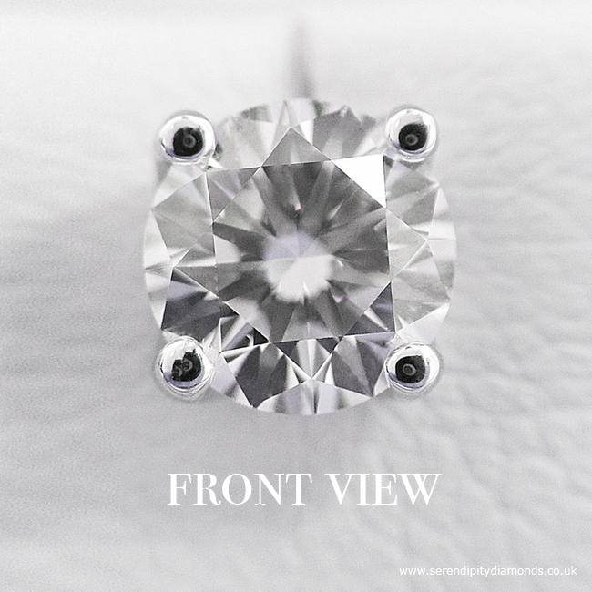 Four Claw Round Diamond Earrings, a perfect wedding day gift - Front View