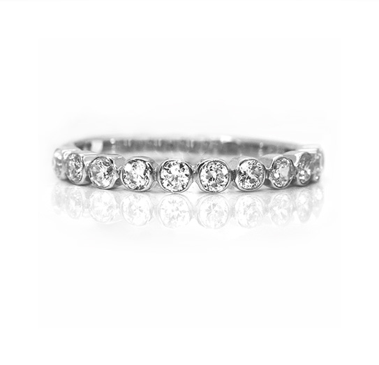 bands round diamond eternity set band bezel ring milgrain