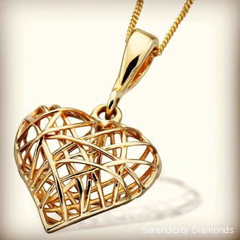 Gold wire frame caged heart yellow gold pendant