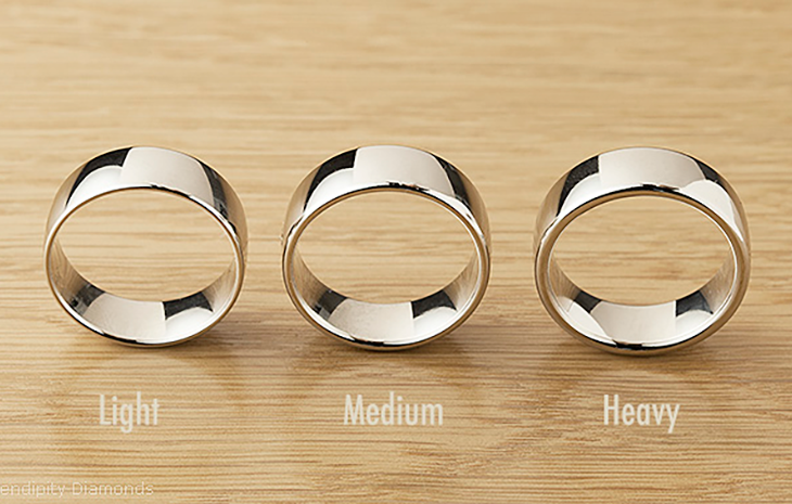 The Difference Between Light Medium & Heavy Weight Wedding Rings