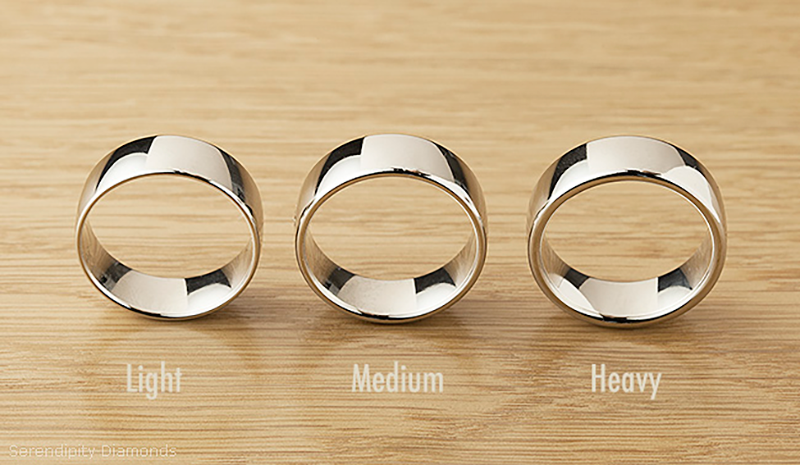 Light medium and heavy weight wedding rings