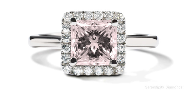Unusual Princess Cut Halo Ring in Passionate Pink
