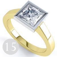Full bezel set princess engagement ring with modern wedfit setting