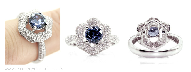 Unique flower styled engagement ring