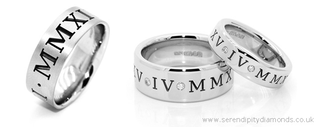 Selection of wedding rings engraved with Roman Numerals