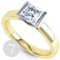Contemporary bar set Princess tension setting engagement ring