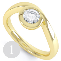 Asymmetrical bezel set diamond engagement ring