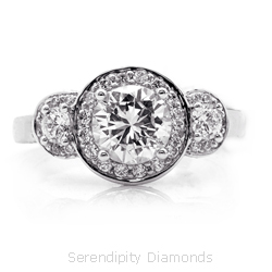featured three stone halo engagement ring