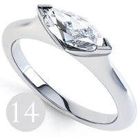 Modern sideways set Marquise solitaire diamond engagement ring