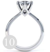 Modern six claw Tiffany set round diamond engagement ring