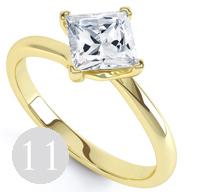 Modern 4 claw twist princess cut engagement ring
