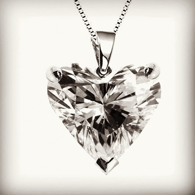 Most romantic pendants include the heart shaped diamond solitaire