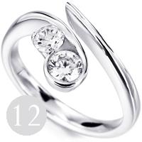 Unusual modern 2 stone diamond engagement ring
