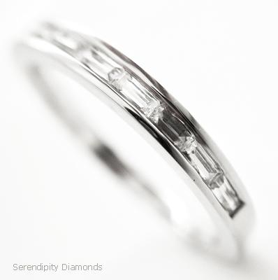 antique style channel set baguette cut diamond wedding ring