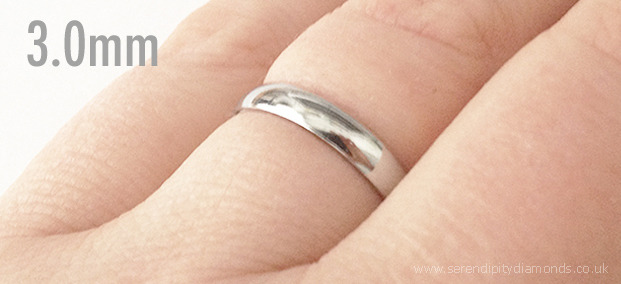 3mm mens plain wedding ring shown on the finger
