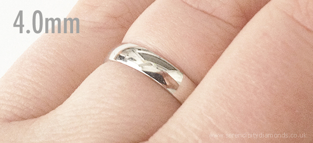 4mm plain mens wedding ring on the finger