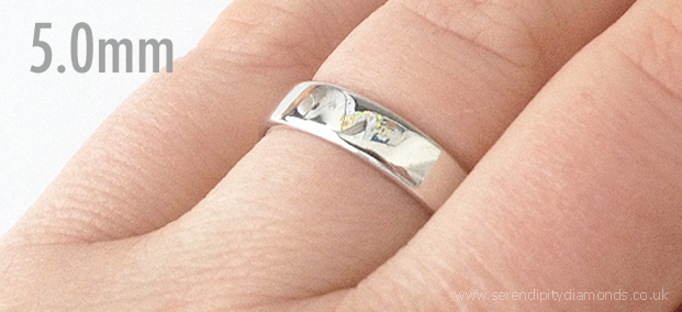 5mm wide wedding ring for a man, shown on the finger.