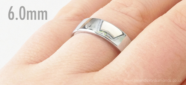 6mm wide mens wedding ring photo, shown on the hand