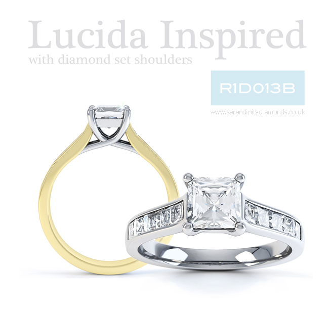 Lucida inspired engagement ring design with channel set diamond shoulders